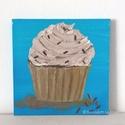 Cupcake modern mini festmény 30, Képzőművészet, Otthon, lakberendezés, Festmény, Falikép, Festészet, 6mm vastagságú, mdf alapra akrilfestékkel és pasztával  festett, akasztóval ellátott cupcake  falik..., Meska