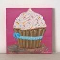 Cupcake modern mini festmény 31, Képzőművészet, Otthon, lakberendezés, Festmény, Falikép, Festészet, 6mm vastagságú, mdf alapra akrilfestékkel és pasztával  festett, akasztóval ellátott cupcake  falik..., Meska