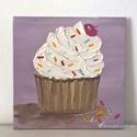 Cupcake modern mini festmény 32, Képzőművészet, Otthon, lakberendezés, Festmény, Falikép, Festészet, 6mm vastagságú, mdf alapra akrilfestékkel és pasztával  festett, akasztóval ellátott cupcake  falik..., Meska