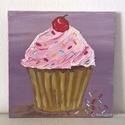 Cupcake modern mini festmény 33, Képzőművészet, Otthon, lakberendezés, Festmény, Falikép, Festészet, 6mm vastagságú, mdf alapra akrilfestékkel és pasztával  festett, akasztóval ellátott cupcake  falik..., Meska