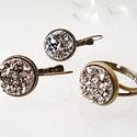 Gyűrű és fülbevaló szett ezüst színű ásvánnyal, Ékszer, óra, Fülbevaló, Ékszerszett, Gyűrű, Ékszerkészítés, 1,2 cm átmérőjű bronz színű fülbevalóalapba és gyűrűalapba műgyantába öntött ezüst színű ásványokat..., Meska