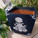 """"""" Kékfestő kaspó """", Otthon & Lakás, Dekoráció, Virágtartó, Festészet,  Akrill festékkel készült négyszögletű kerámia cserépre szabad kézzel festve. Belső mérete : 12×12 ..., Meska"""