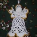 Horgolt, arany szegélyes angyalka, Karácsonyi, adventi apróságok, Karácsonyi dekoráció, Karácsonyfadísz, Horgolás, Kézzel horgolt, keményített, arany szegélyes, angyalkát mintázó figura. Méltó dísze lehet az ünnepi..., Meska