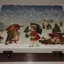 Karácsonyi díszdoboz gömbökkel, Karácsonyi, adventi apróságok, Karácsonyfadísz, A képen látható dobozt és a gömböket szalvétatecnikával készítettem... , Meska