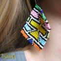 Afrikai textilmintás fülbevaló, Ékszer, Fülbevaló, Ékszerkészítés, Gyöngyfűzés, Nagy és feltűnő fülbevaló, az extrém ékszerek kedvelőinek :) Szép, színes, afrikai mintát használta..., Meska