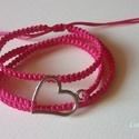 Pink Szerelem, Ékszer, Karkötő, Feltűnő, 3 soros, szívvel díszített karkötő. A nyári időszakban csodásan mutat a lesült bőrön!..., Meska