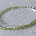 Peridot ezüst karkötő , Ékszer, Karkötő, 3 mm-es, nagyon szép,  fazettált peridot gyöngyökkel, ezüst gyöngyökkel, ezüstlánccal és ezüst szere..., Meska