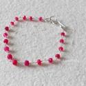 Ezüst karlánc rubin gyöngyökkel, Ékszer, óra, Karkötő, Nagyon szép, 3-4 mm-es, fazettált rubin gyöngyökkel, ezüstdróttal és szerelékkel  készítet..., Meska