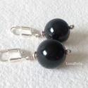Ónix gyöngyökkel ezüst  fülbevaló, Gyönyörű, fekete, nagyméretű (14 mm) ónix gy...