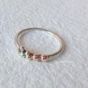 Arany-ezüst pöttyös gyűrű , Vékonyka ezüst gyűrűt készítettem, ezüst, r...