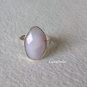 Ezüst gyűrű opállal, Ékszer, Gyűrű, Ezüst gyűrűt készítettem, szépséges 19x12  mm-es, fazettált rózsaszín opállal.  A gyűrűsín 3 mm, a g..., Meska