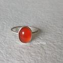 Ezüst gyűrű karneollal, Ékszer, Gyűrű, Ezüst gyűrűt készítettem szépséges,  10x7 mm-es karneollal.  A gyűrű belső átmérője 16,7 mm.     ..., Meska