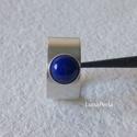 Lápisz lazuli ezüst gyűrű, Ékszer, Gyűrű, 6 mm-es lápisz lazulival készítettem ezt a gyűrűt.  A gyűrűsín szélessége 10 mm.  A gyűrű belső átmé..., Meska