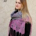 Nemez sál szürke ausztrál merinó gyapjúból és rózsaszín tussah selyem szállal, Ruha, divat, cipő, Kendő, sál, sapka, kesztyű, Sál, Pillekönnyű nemez sál szürke ausztrál merinó gyapjúból és rózsaszín tussah selyem szálból.  Mérete 1..., Meska