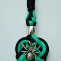 Kelta szív kulcstartó, Mindenmás, Kulcstartó, Fekete - türkiz színű kelta szív kulcstartó, pók medállal.  Hossza: 10 cm Egyedi színben és..., Meska