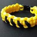 Honeybee, Ékszer, Karkötő, Sárga színű, cobra mintával készült paracord karkötő fekete betűzéssel. Műanyag csattal z..., Meska