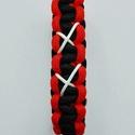 Dupla X karkötő, Ékszer, Karkötő, Fekete - narancs színű, cobra mintával készült paracord karkötő, fehér microcord zsinórral...., Meska