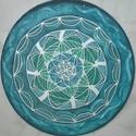 Kék Harmónia, Dekoráció, Otthon, lakberendezés, Kép, Falikép, Egyedi, saját minta alapján rajzolt, majd festett selyem mandala, átmérője 25 cm, gyárilag kif..., Meska