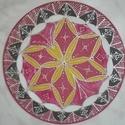 Trópusi bőség, Dekoráció, Otthon, lakberendezés, Dísz, Falikép, Egyedi, saját minta alapján rajzolt, majd festett selyem mandala, átmérője 20 cm, gyárilag kif..., Meska