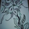 Zöld Korall, Dekoráció, Otthon, lakberendezés, Kép, Falikép, Fotó, grafika, rajz, illusztráció, Egyedi, saját mintázat alapján készített korall hatású rajz, zenfirka, zentagle stílusban, fehér pa..., Meska