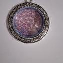 Élet virága medál, Ékszer, Medál, Nyaklánc, Élet virágát ábrázoló, saját selyem mandalából miniatürizált üveglencse medál, Meska