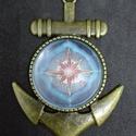 Iránytű , Ékszer, Medál, Saját tervezésű selyem mandala miniatürizált képe üveglencse ékszerbe zárva., Meska