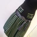 Zöld csíkos  selyem szoknya, Ruha, divat, cipő, Női ruha, Szoknya, Varrás, Kicsit a 60-as  évek hangulatát  idézi ez a neonzöld-fekete taftból készült  csíkos hagymaszoknya. ..., Meska