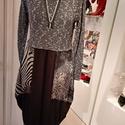 Zipp-zár  díszes ruha, Ruha, divat, cipő, Női ruha, Ruha, Varrás, Négy féle anyag kombinációjával készítettem ezt a ruhát. Elejét  zipp-zár rátét díszíti.  Két oldal..., Meska