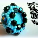 Kék állítható gyűrű, Ékszer, Gyűrű, A gyűrű mintáját saját magam terveztem. A benne lévő üveg macskaszem kaboson 18 mm átmérő..., Meska