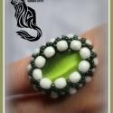 Zöld ovál gyűrű, Ékszer, Gyűrű, A gyűrű mintáját saját magam terveztem. A benne lévő üveg macskaszem kaboson 25mm x 18 mm. K..., Meska