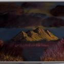 sárga hegység, Képzőművészet, Festmény, Festmény vegyes technika, Olajfestmény, Festészet, 30X40cm 400g/m2 sűrűségű tömbre festett olaj festmény. a tájképet képzeletbeli színekkel festettem,..., Meska