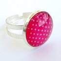 Piros pöttyös üveglencsés gyűrű, Ékszer, óra, Gyűrű, Ékszerkészítés, Piros alapon fehér pöttyös mintájú üveglencsés gyűrű. Vidám kis ékszer a pöttyök kedvelőinek. :)  A..., Meska