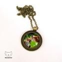 Két rókakölyök - Rókás üveglencsés nyaklánc, Ékszer, Nyaklánc, Cuki kisrókás fotót használtam fel ehhez a bronzszínű üveglencsés nyaklánchoz. Az üveglenc..., Meska