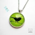 Zöldike - Madaras üveglencsés nyaklánc, Ékszer, Nyaklánc, Rajongok a madarakért, és ezzel talán nem vagyok egyedül. :) Egy kora tavaszi napon szerintem ni..., Meska