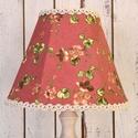 Lámpaernyő - floral coral, Otthon, lakberendezés, Lámpa, Asztali lámpa, Hangulatlámpa, Varrás, Virágmintás textilből, hagyományos módon kézzel varrt, feszített lámpaernyő asztali lámpához. Egyré..., Meska