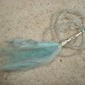Angyalhaj - medál gyöngyös láncon, Ékszer, Esküvő, Medál, Csodaszép, pihe-puha fonalat rögzítettem ezüst színű gyöngykupakhoz. Finom pasztell kék kásagyöngy d..., Meska
