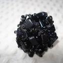 Kék bárónő - gyűrű , Ékszer, Esküvő, Gyűrű, Kék napkő (Goldfluss) splitterekből készítettem ezt az extravagáns gyűrűt.  Pántját matt fekete kása..., Meska