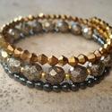 Antik glamour karkötő hematittal, 4 mm-es aranyszín csiszolt aranyszín gyöngyök,...