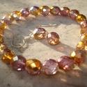 Lila-narancs csiszolt üveggyöngyös karkötő és fülbevaló szett, Ékszer, óra, Esküvő, Karkötő, Fülbevaló, Ékszerkészítés, Ezt az elegáns és egyben vidám szettet 8 mm-es lila-narancs színű csiszolt üveggyöngyökből készítet..., Meska