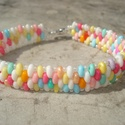 Tavaszi mozaik - twin gyöngyös  karkötő, Gyönyörű telt világos-színes twin gyöngyből...