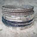 Ezüst-szürke-hematit  színű karkötő szett, 2 mm-es matt ezüst és hematit színű kásagyön...