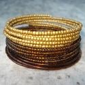 ÚJ! Aranyból barna  - karkötő, 2 mm-es matt arany és aranybarna kásagyöngyöke...