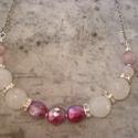 ÚJ! Elegáns rózsakvarc nyaklánc, Ékszer, Esküvő, Nyaklánc, Igen szép, halvány rózsaszín, fazettált, 12 mm-es rózsakvarc és 8 mm-es macskaszem  ásványgolyókból ..., Meska
