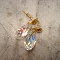 ÚJ! Swarovski briolett fülbevaló - crystal ab, Ékszer, Esküvő, Fülbevaló, Még mindig lenyűgöz a Swarovski szívek csillogása.  A fotón látható briolett csiszolású Sw..., Meska