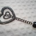 3 szíves  nyaklánc, Ékszer, Szerelmeseknek, Nyaklánc, Medál, Egy nagyobb és egy kisebb csillámos fekete szív medál, valamint egy fekete (jet) swarovski szív alak..., Meska