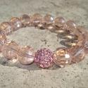 ÚJ! Ragyogó barack - karkötő, Ékszer, Esküvő, Karkötő, 10 mm-es barack rózsszín csiszolt üveggyöngyök  fognak közre egy azonos méretű, rózsaszín kristályos..., Meska