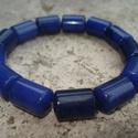 ÚJ! Lapis lazuli ásvány karkötő, 14 mm-es lapis lazuli hengereket fűztem fel erős...