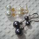 ÚJ! Gyöngy és kristály fülbevaló csomag (2 pár), Ékszer, Esküvő, Fülbevaló, 8 és 12 mm-es fehér tekla gyöngyök és 6x4 mm-es aranyszín csiszolt fánk alakú üveggyöngy arany fülbe..., Meska