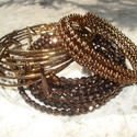 ÚJ! Extravagáns metál barna karkötő szett, Ékszer, Esküvő, Karkötő, 3 darab metál barna karkötő szettet állítottam össze.  1. 4 mm-es aranyos fényű metál barna masnigyö..., Meska