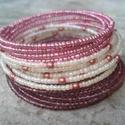Lila-mályva karkötő szett, Ékszer, Esküvő, Karkötő, 3 darabos karkötő szett szép lila- mályva-krém színharmóniában egyesülve.  1/ 2,5 mm-es apró bordós ..., Meska